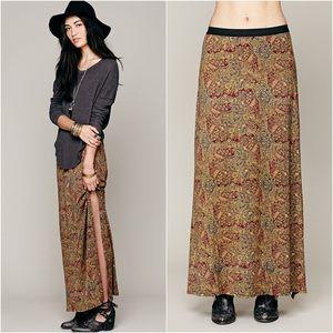 Free People Paisley Boho Maxi Skirt Side Slit S